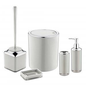 Herzberg HG-OKY6321: 5 Pieces Bathroom Set - Double Layer Color Gray