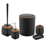 Herzberg HG-OKY5013: 5 Pieces Bathroom Set - Wood Accent Black