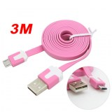 3M Micro USB Flat Noodle Charger Data Cable Cord for Samsung Note 2/HTC/LG- Pink