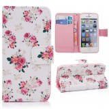 """PU Leather Wallet Stand Flip Case with Beautiful Flowers for 4.7"""" Inch iPhone 6"""