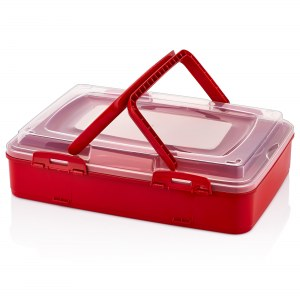 Herzberg Single-Tier Takeaway Pastry Carrying Box Red