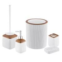 Herzberg HG-OKY5013: 5 Pieces Bathroom Set - Wood Accent White